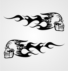Flaming skull tattoo vector