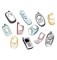 Modern and retro mobile phones icons vector
