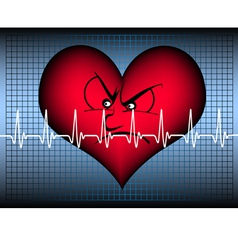 Angry looking heart with cardio line vector