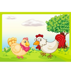 Chickens in a field vector
