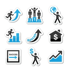 Success in business self development icons set vector
