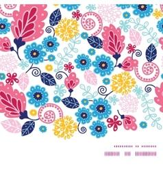 Fairytale flowers horizontal frame seamless vector