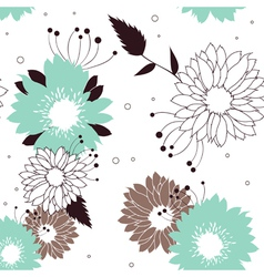 Flowers seamless retro pattern vector