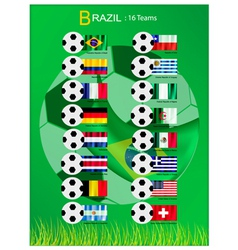 16 teams of football tournament in brazil 2014 vector