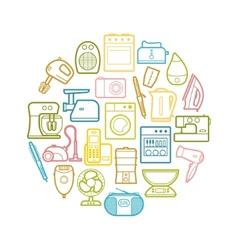 Circle set of contour home appliances icons vector