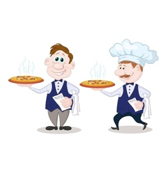 Waiters deliver a hot pizza vector