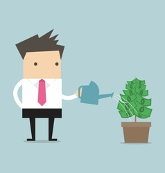 Businessman watering money plant vector