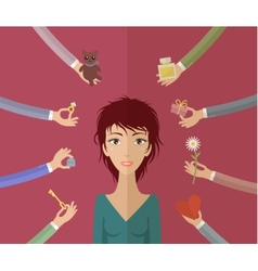 Girl and many hands vector