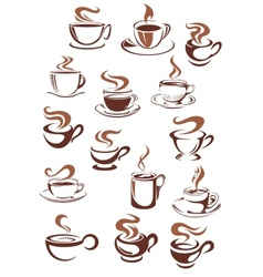 Coffee cups and mugs in doodle sketch style vector
