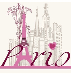 Paris card urban architecture and lily vector