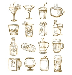 Hand drawn beverages vector