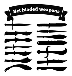 Set of silhouettes of knives vector