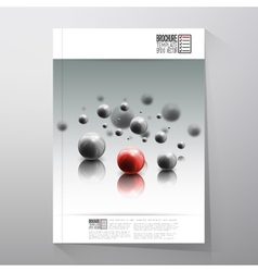 Spheres in motion on gray background brochure vector