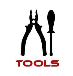 Pliers and screwdriver black silhouettes vector