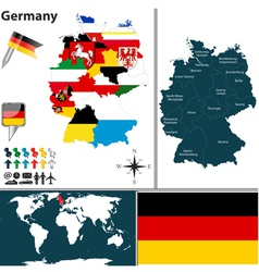 Germany map with regions and flags vector
