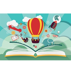 Imagination concept - open book with air balloon vector