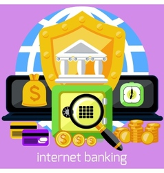 Internet banking and security deposit concept vector