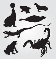 Seals frogs lizards and scorpions vector
