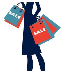 Silhouette of a woman shopping at sales vector