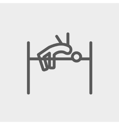 High jump thin line icon vector