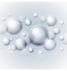 Realistic shiny transparent water drop bubbles on vector