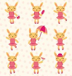 Rabbit girls set vector