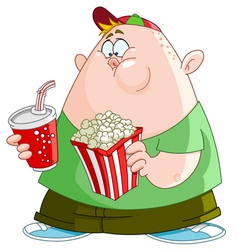 Kid with popcorn and soda vector