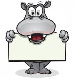 Cute hippo holding sign vector