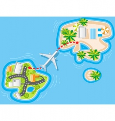 Flight to sea resort vector
