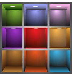 3d colorful shelves vector