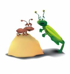 Ant and grasshopper vector