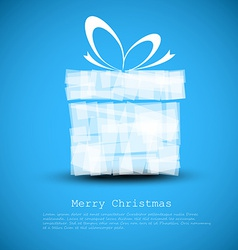 Simple blue christmas card with a gift vector