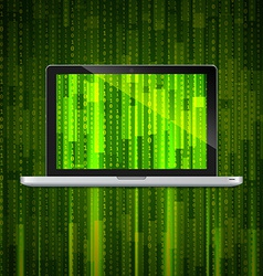 Laptop with matrix background vector
