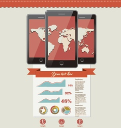 Three touchscreen mobile phone devices and icons vector