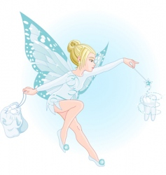 Tooth fairy with magic wand vector