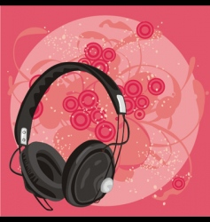Earphone with grunge background vector