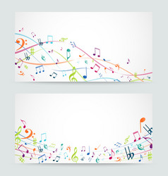 Abstract colorful music notes banner vector