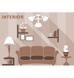 Living room modern interior design in flat style vector