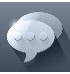 Shiny dark grey 3d chat bubble symbols vector