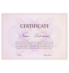 Template design of certificate with guilloche vector