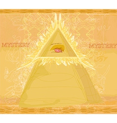 Ancient pyramid eye design vector