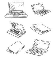 Laptop drawings set vector