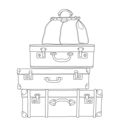 Sketch of the suitcases on white background vector