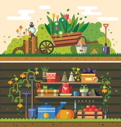 Work in the garden vector