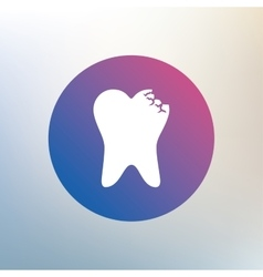 Broken tooth sign icon dental care symbol vector
