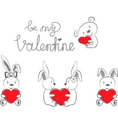 Valentines rabbits and bear with red heart vector