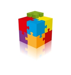Cube puzzle  3d with a reflection vector