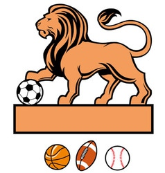 Lion standing with various of sport ball vector