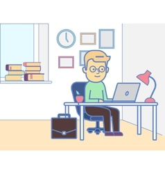 Boy with laptop vector