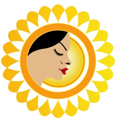 Sun tan logo- a face with a bright yellow sun vector